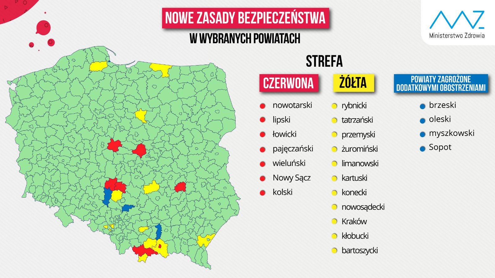 Nowe zasady bezpieczeństwa w wybranych powiatach.