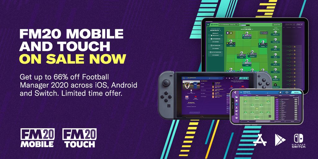 Up to 66% off #FM20Mobile and #FM20Touch 🚨  Limited time offer across iOS, Android and Nintendo Switch, available now from their respective online stores.   🛒 https://t.co/kSNCpr8tYc https://t.co/LEDF4at7x7