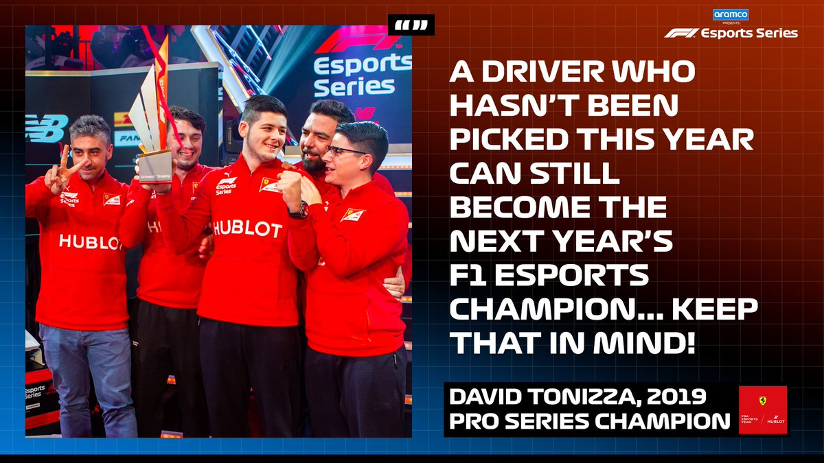Stellar advice from reigning champion @David_Tonizza 🗣  To those who didn't make it... your time will come!  #F1Esports 🎮 #F1 @FerrariEsports https://t.co/963I6Si4Qf