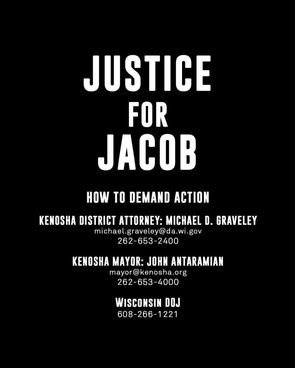 We must demand justice for Jacob Blake. #blacklivesmatter https://t.co/FXLKZ0ofkt