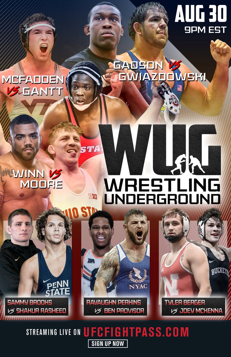 Who are you cheering on this Sunday at the first Wrestling Underground event??   We air live exclusively on @UFCFightPass August 30th at 6pm PST/9pm EST   #wug #wug1 #wrestlingislife #wrestlingunderground #wrestle #wrestlers #freestylewrestling #grecoromanwrestling #chaelsonnen https://t.co/nDF4nT5OE7