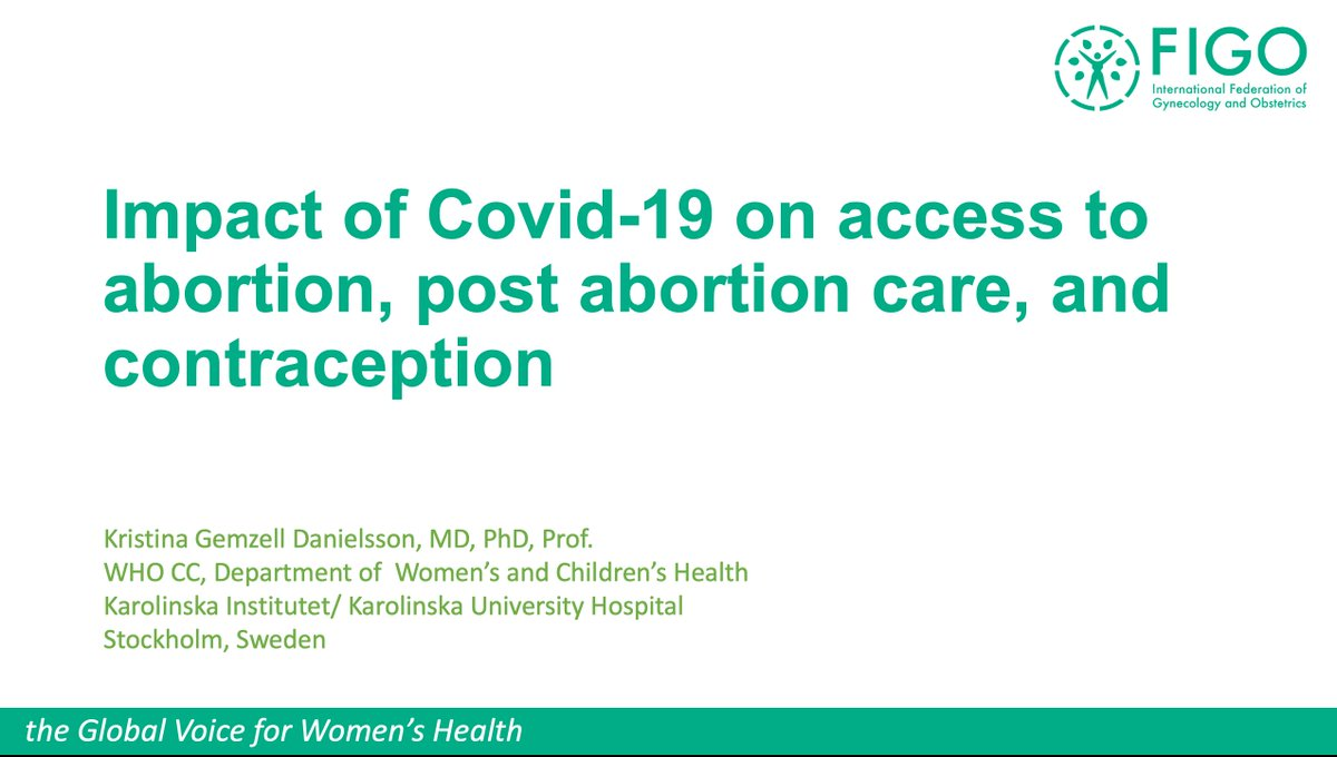 Next up to speak at today's #FIGOWebinar is Professor Kristina Gemzell-Danielsson, to speak on how #COVID19 has affected access to #safeabortion and abortion care.  #SRHR #womenshealth #FIGOWebinar https://t.co/2AXhgjkIZc
