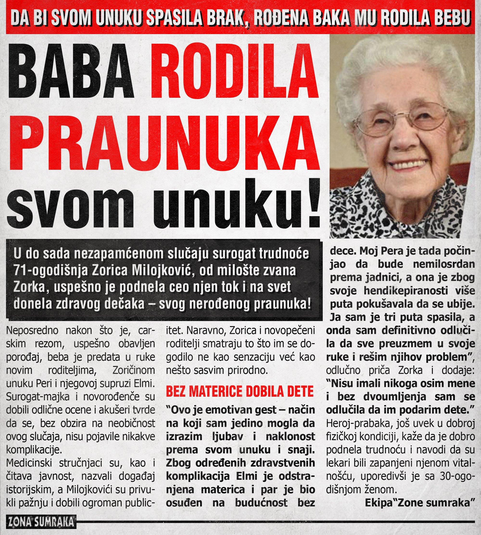 Baba rodila praunuka svom unuku!
