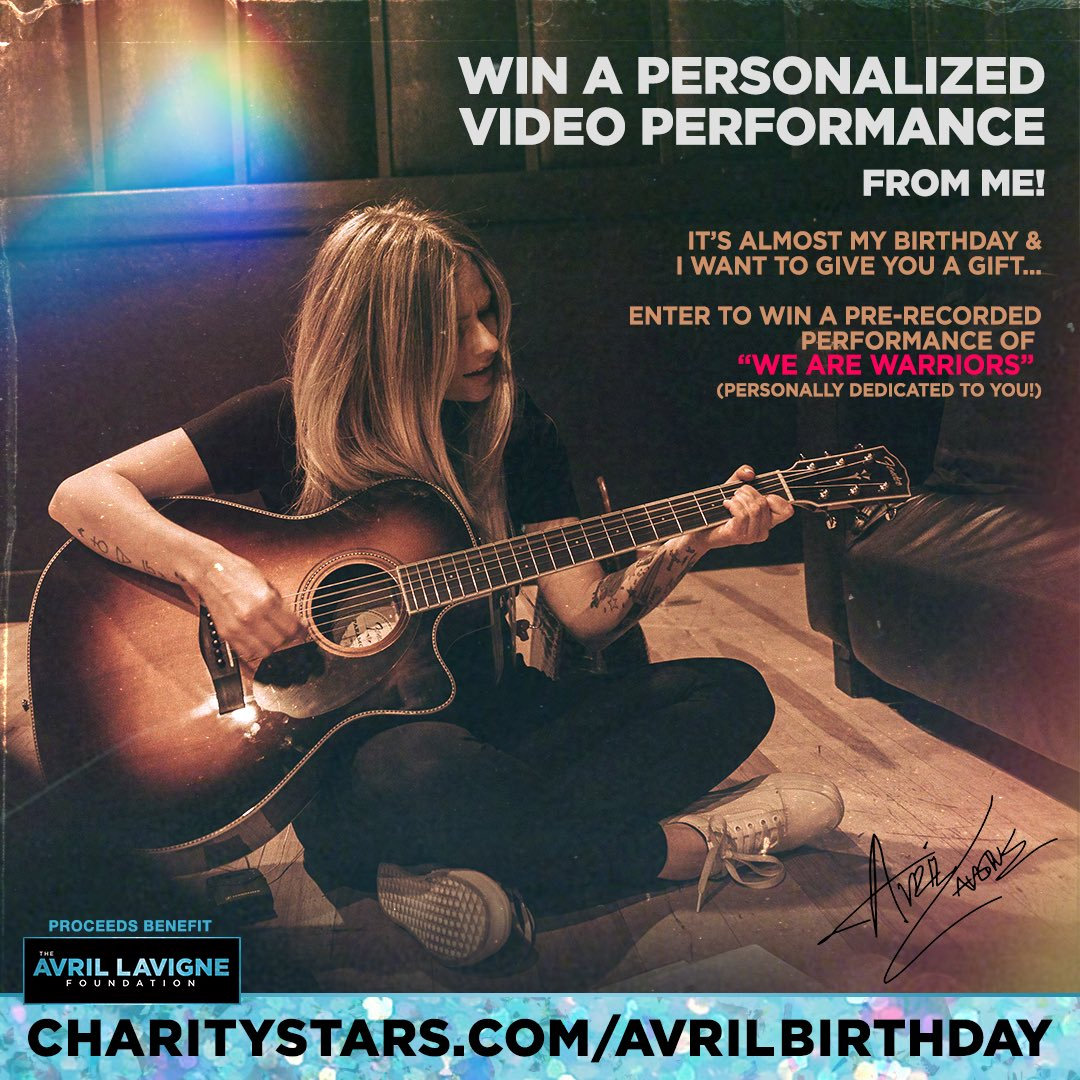 Surprise! To thank you for your support of @AvrilFoundation, I'm going to record a personalized video performance of #WeAreWarriors just for one of you & announce the winner on my birthday! (Proceeds to @AvrilFoundation to #FightLyme.  for more info.