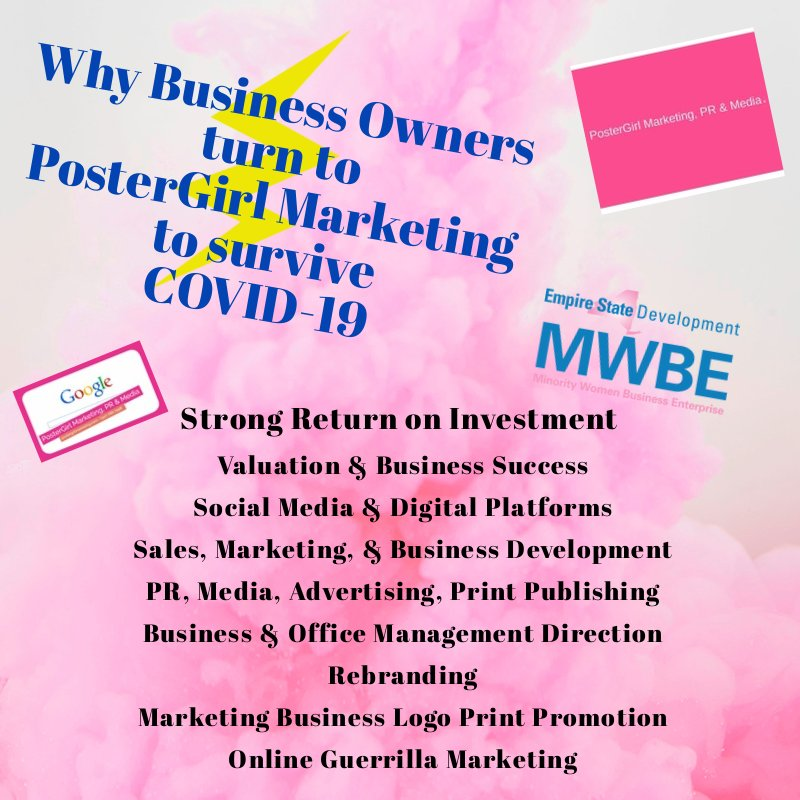 How Business Owners Increase Digital Marketing During COVID-19! Schedule a FREE Telephone or Facetime consultation today, +1 (347) 786.7998. #PosterGirlMarketing #Businessowners #marketing #revenue #increase #successful #minoritybusinessowner #womenownedbusiness https://t.co/GJ6PxPYxwO