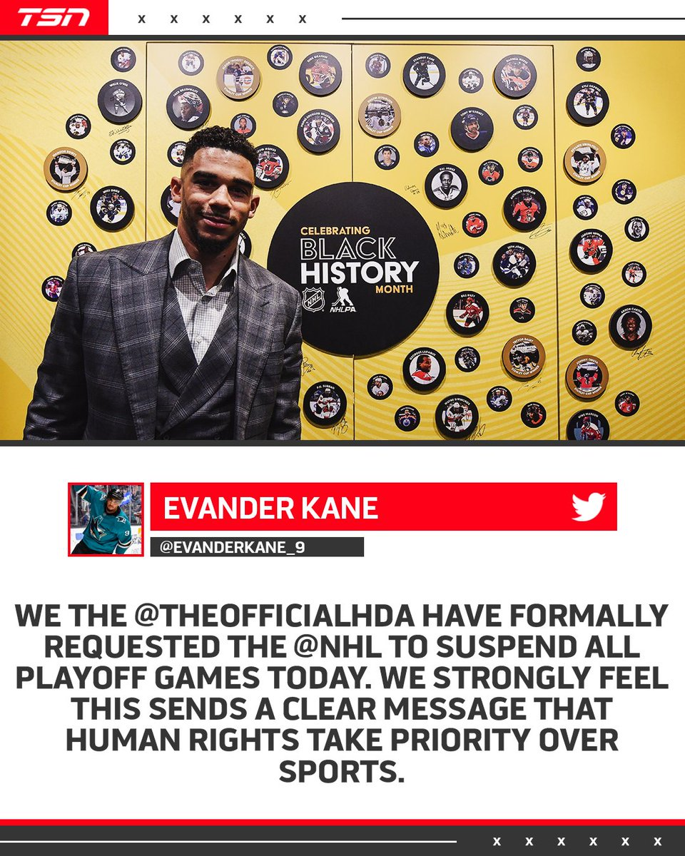 Tsn On Twitter Evander Kane And The Hockey Diversity Alliance Is Calling For The Nhl To Suspend Thursday S Playoff Games
