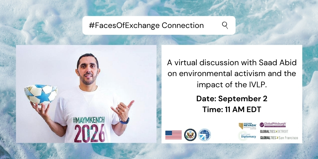 September 2 at 11am ET: Catch up with #FacesOfExchange connection @Saaido, a pro surfer🏄 & environmental activist from Morocco 🇲🇦, for insight on his @StateIVLP #ExchangesImpact with @GlobalPittsbrgh @GlobalTiesDet @GlobalTiesSF @GCCDC_Pensacola @NNICReno @MeridianIntl.RSVP⬇️ https://t.co/PKZKxrS48T