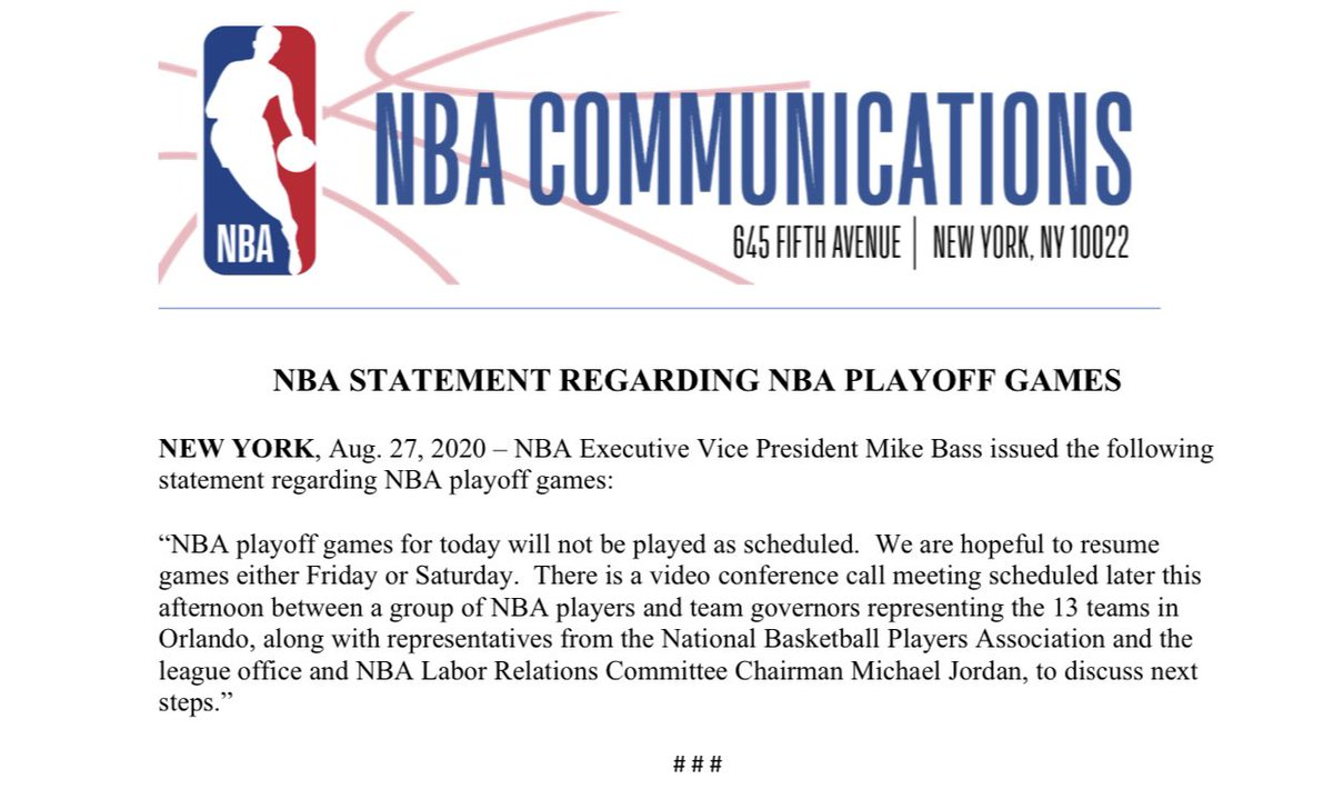 The NBA issued the following statement https://t.co/8xvdWFoq3C
