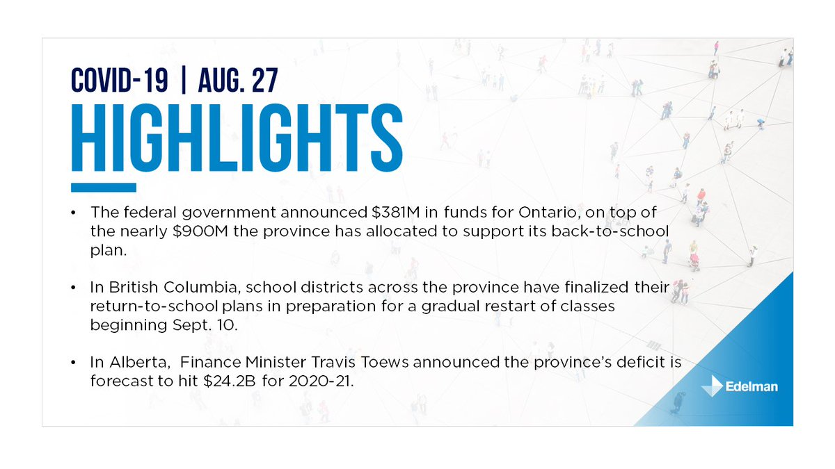 August 27: Today's edition of Edelman Canada's provincial summary. For the full briefing please download it here: https://t.co/JtnHNt0C1L https://t.co/zF7jV71OEG