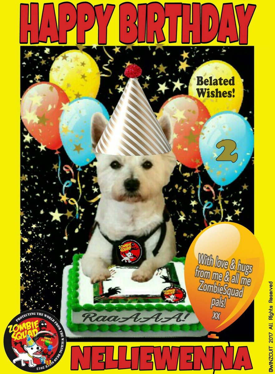 🎂Wishing a BELATED 🎁HAPPY 2nd BIRTHDAY🎉 to our pawsome pal, NELLIE from Leada Billy & your ZombieSquad pals. Sorry we missed your special day on 26 August... we hope it was full of tasty treats, belly rubs & cayke, soldyer. RaaAAA!! 💜🎂🎁🎉 @NellieWenna @ZombieSquadHQ #ZSHQ https://t.co/qbnEMaTyPA