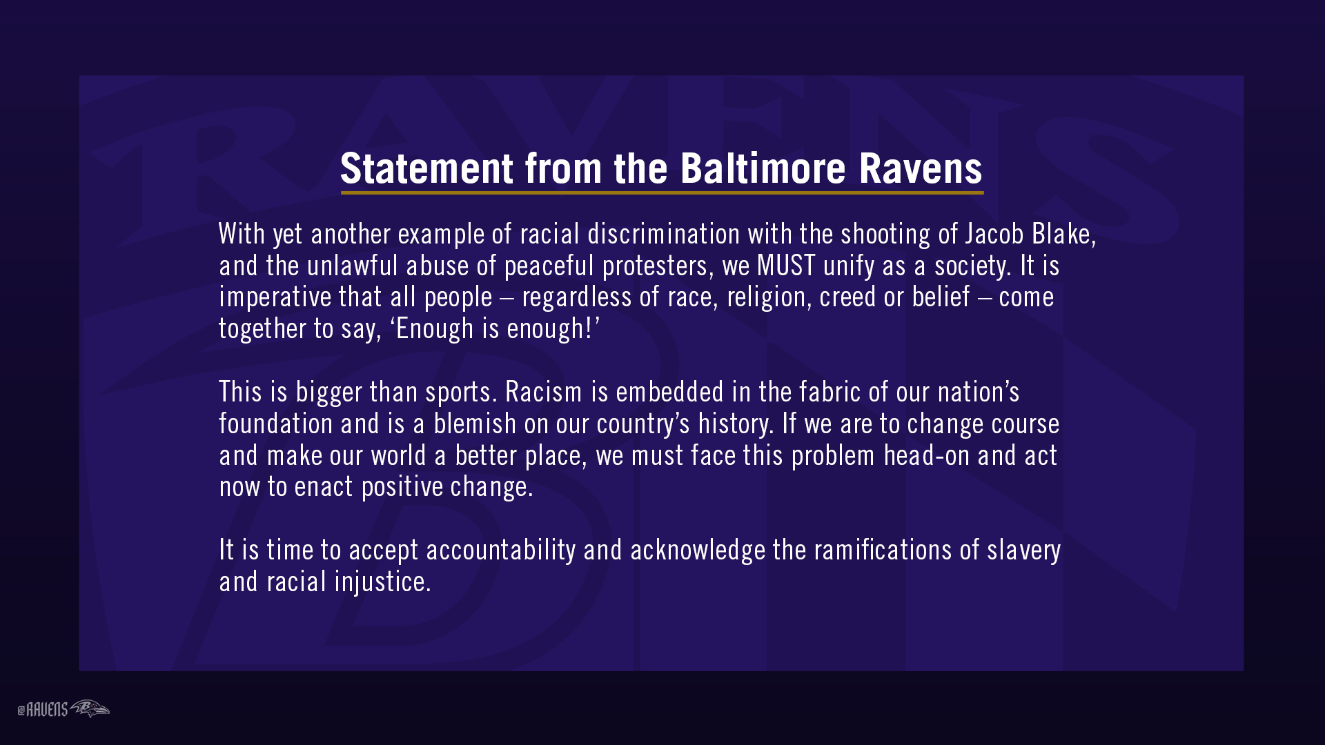 Baltimore Ravens On Twitter Statement From The Baltimore Ravens