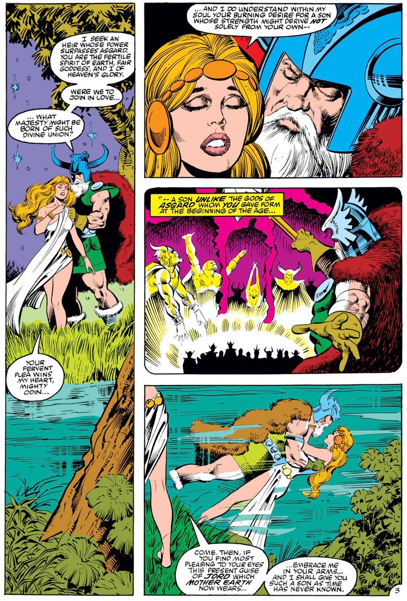 """Marvel Daily Art בטוויטר: """"Thor's origin starts with Odin traveling to Midgard to meet with Jord, goddess of the Earth. He wants a son whose power comes not only from Asgard, so"""