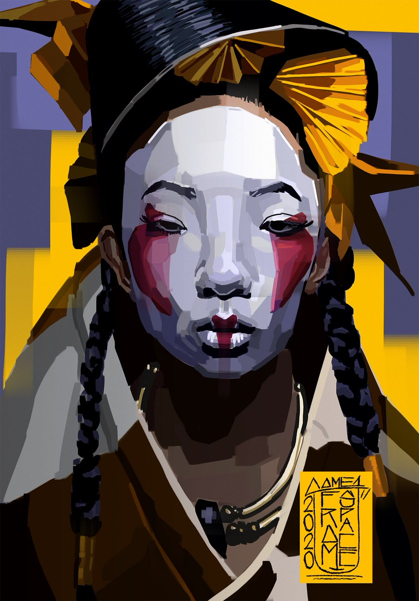 Nice bucket. Painted this geisha based on photography from #akiomikuroda About 6 hours livestream, great fun and lots of laughs. Catch ya later. #art #artistsontwitter #painting #portrait #DigitalArtist #portraitpainting #photoshop