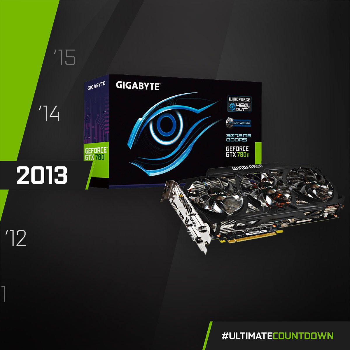 NVIDIA GeForce GTX 780 Ti - 2013  Equipped with the compelling WINDFORCE 450W cooling design, we could efficiently dissipate the 450 watt heat output from the GTX 780 Ti!  #UltimateCountdown #UltimateAORUS #GIGABYTE https://t.co/CcA4vkWdII