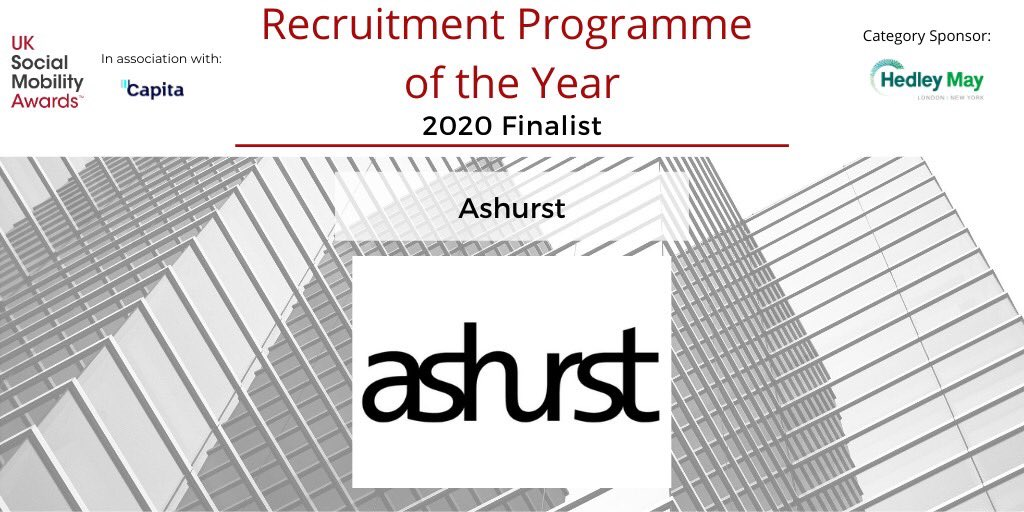 Our final #SOMO2020 'Recruitment Programme of the Year' finalist, sponsored by @HedleyMay, are global law firm @ashurst. They are a strong advocate of the #socialmobility movement, who pride themselves on being a socially #responsiblebusiness. https://t.co/bIkLvGAPDN