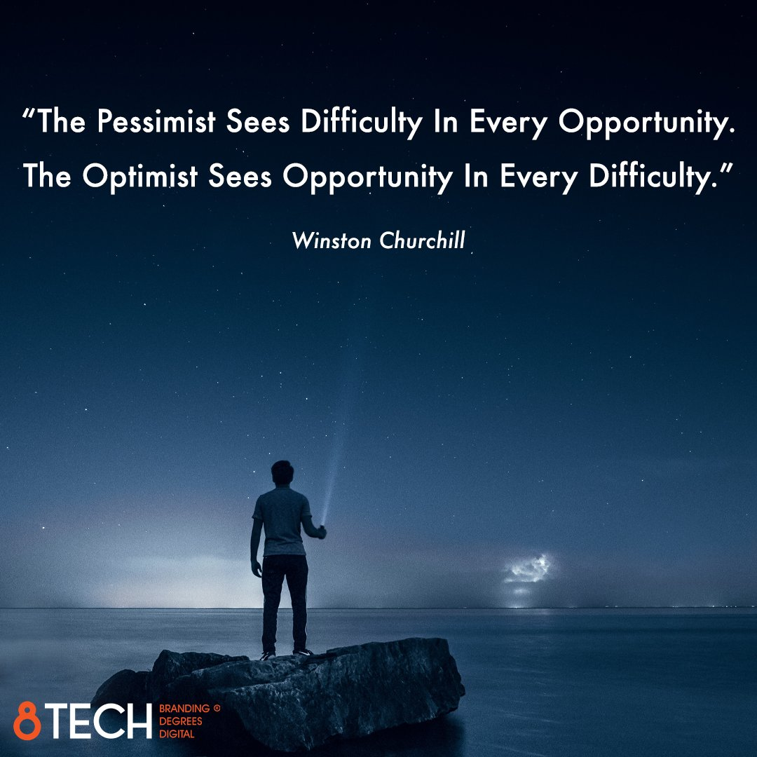 """""""The Pessimist Sees Difficulty In Every Opportunity. The Optimist Sees Opportunity In Every Difficulty.""""  – Winston Churchill #quotesaboutlife #quotesoftheday #entrepreneur #inspire #business #motivational https://t.co/cw4fgM7cHt"""