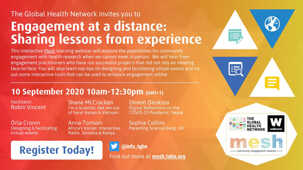 What does it take to develop meaningful experiences online? What important lessons have we learnt about engagement during #Covid19?  Join us on 10 Sept @ 10:00GMT+1 for our WEBINAR: Engagement at a distance: Sharing lessons from experience  Register: https://t.co/Bf1Rgrpf8h https://t.co/klbZ1zuEpL