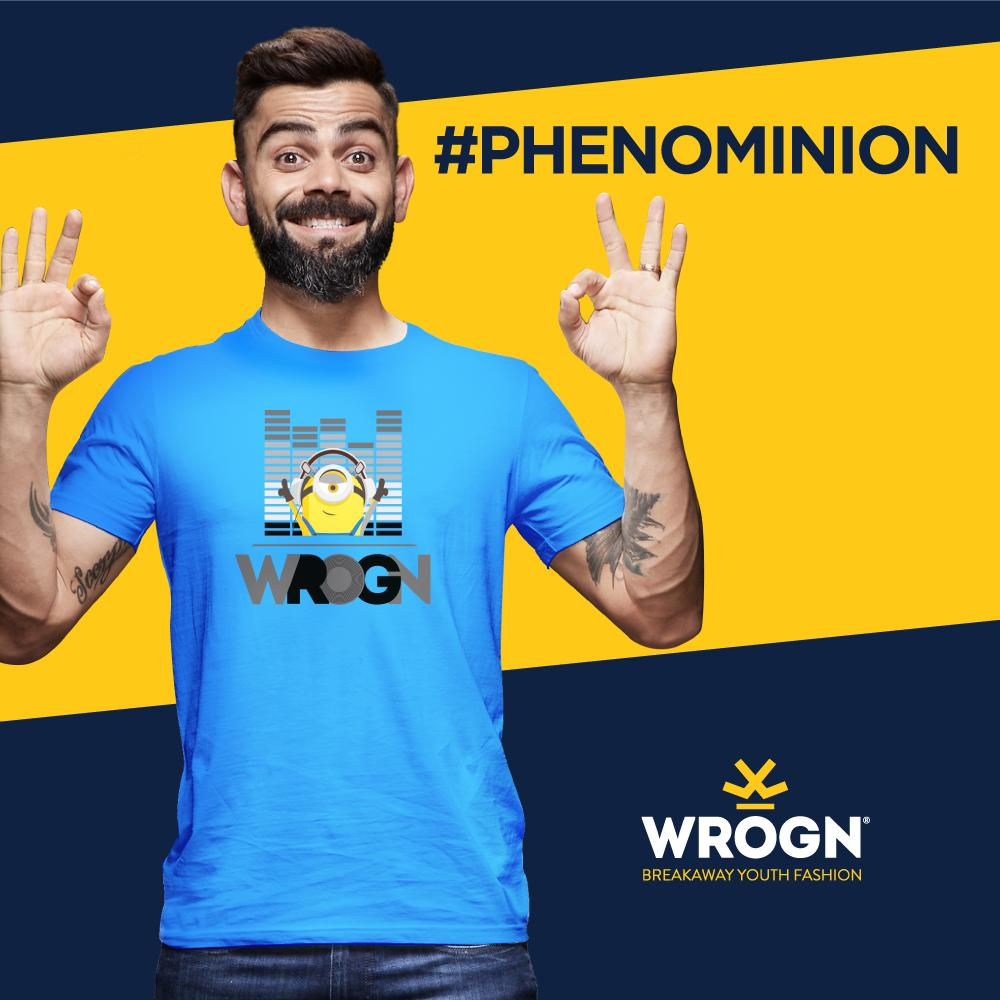 Hand him anything Minion and Captain Kohli's in love!  Dapper merchandise in store for you, from @StayWrogn's exclusive WROGN x MINIONS collection.  @BWObrands  #UniversalPictures #ViratKohli #StayWrogn #Minions