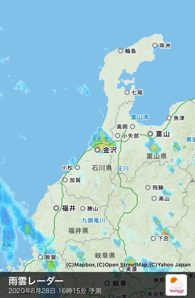 雨雲 石川 レーダー 県 【一番詳しい】石川県金沢市 周辺の雨雲レーダーと直近の降雨予報