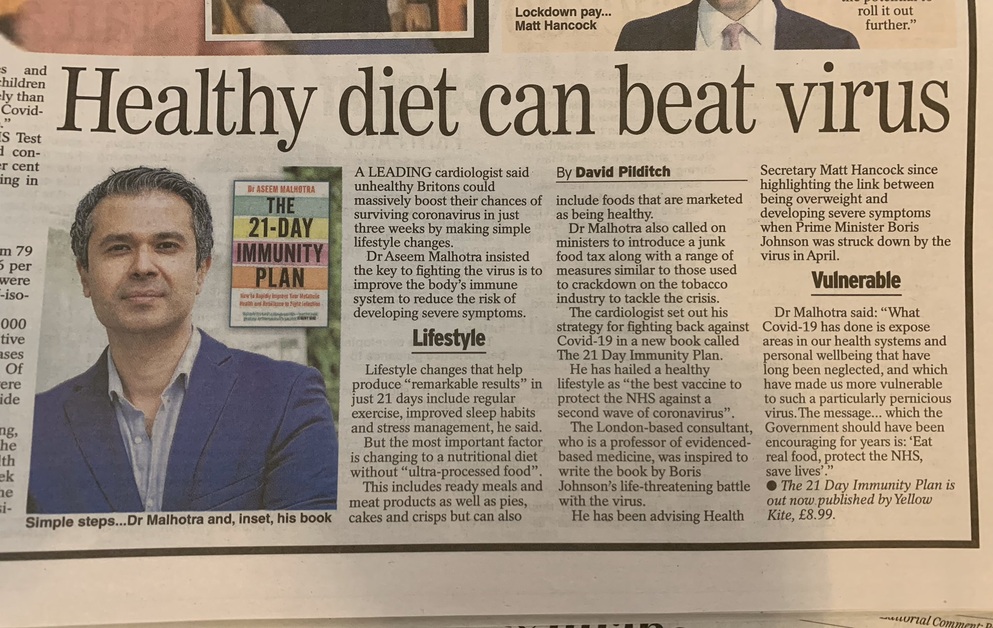"""Dr Aseem Malhotra FRCP on Twitter: """"'Healthy diet can beat virus' via Daily  Express https://t.co/D5Z1AcP5qS #21dayimmunityplan #NHS… """""""