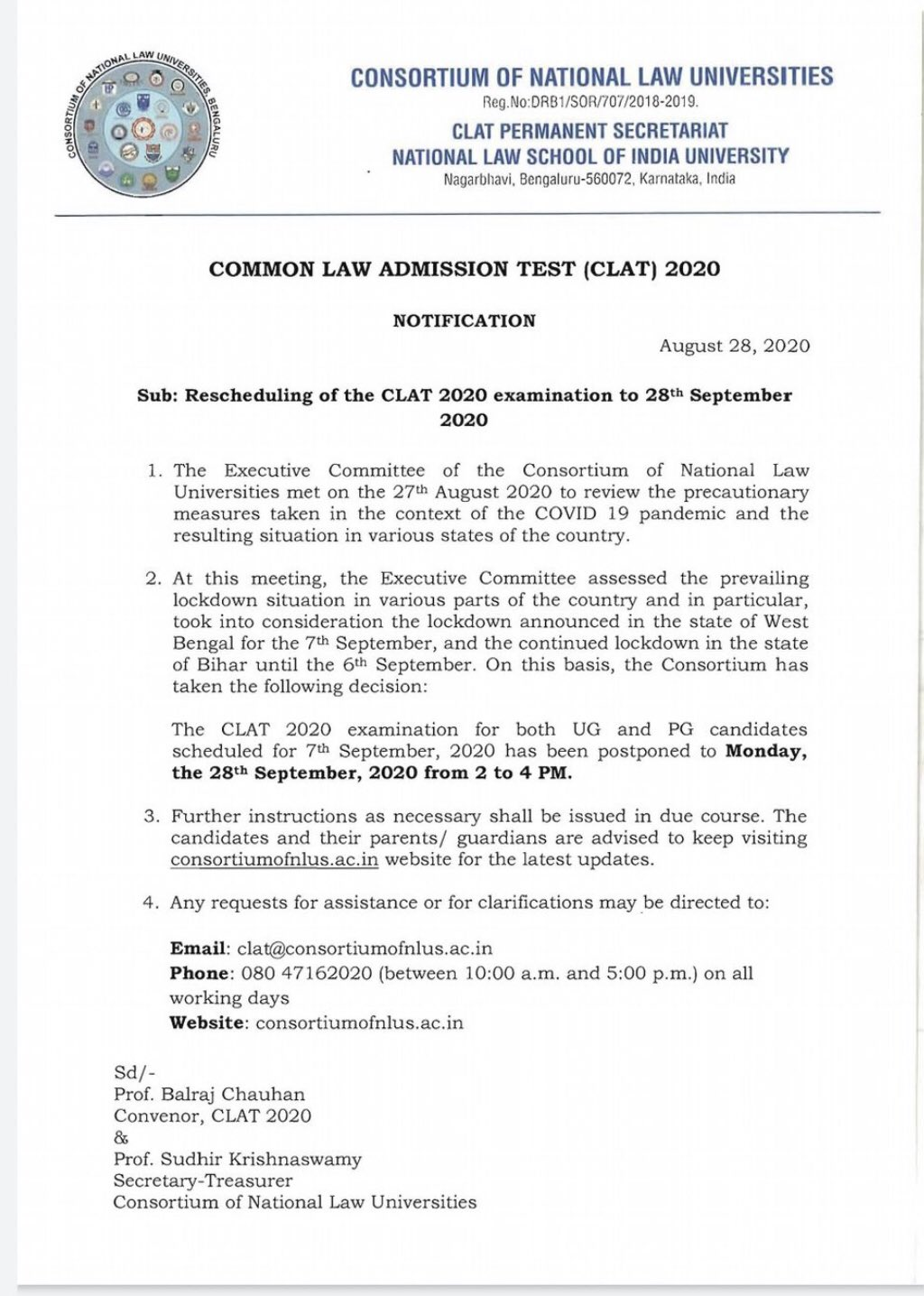 CLAT Exam 2020 has been officially postponed today