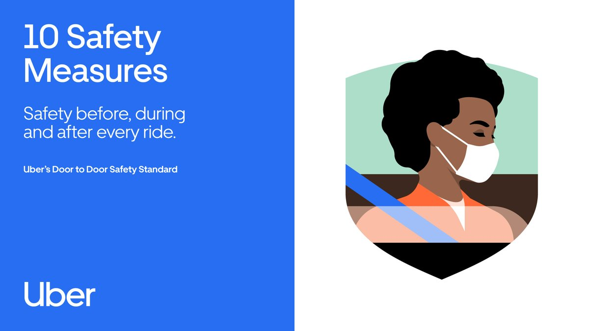 10 Safety Measures: You deserve to be able to move safely no matter what is happening in the world. This is why we're focused on your safety before, during and after every ride.  Find out more about Uber's Door-to-Door Safety Standard at https://t.co/Ox8twveszS. #RideSafeWithUber https://t.co/RGaM7SZiVl