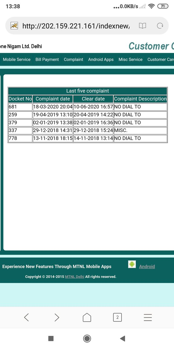 @CMD_MTNL @MTNLDEL my telephone 011 23271437 was not working from 18.03.20 to 10.06.2020 ,I complained for reduction in charges due to non working of phone.Kindly adjust the rent in my next bill .@rsprasad @MTNLOfficial @OfficeOfRSP @Secretary_DoT @DoT_India