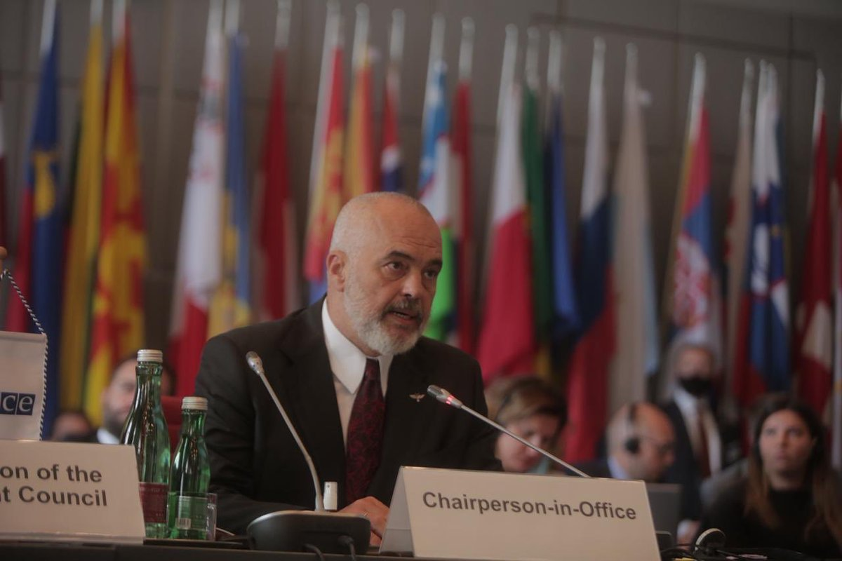 """I appeal today to the #Belarus authorities: Seize this moment to move from confrontation to dialogue.""   OSCE Chair, PM @ediramaal, opens Special Permanent Council on Belarus. Follow via https://t.co/JbSbIVYQ4A.   #Albania2020🇦🇱 https://t.co/xGijRIGAyE"
