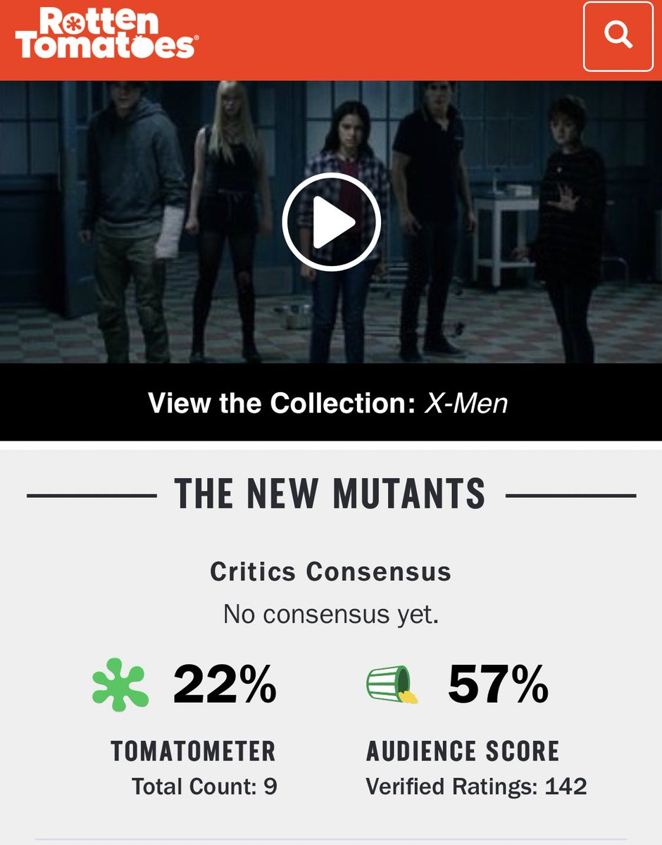 "Film Updates's tweet - ""Josh Boone's #NewMutants bas debuted with a Rotten  Tomatoes score of 22%. ""It is difficult to pinpoint exactly where Boone  goes wrong, because there are just so many"