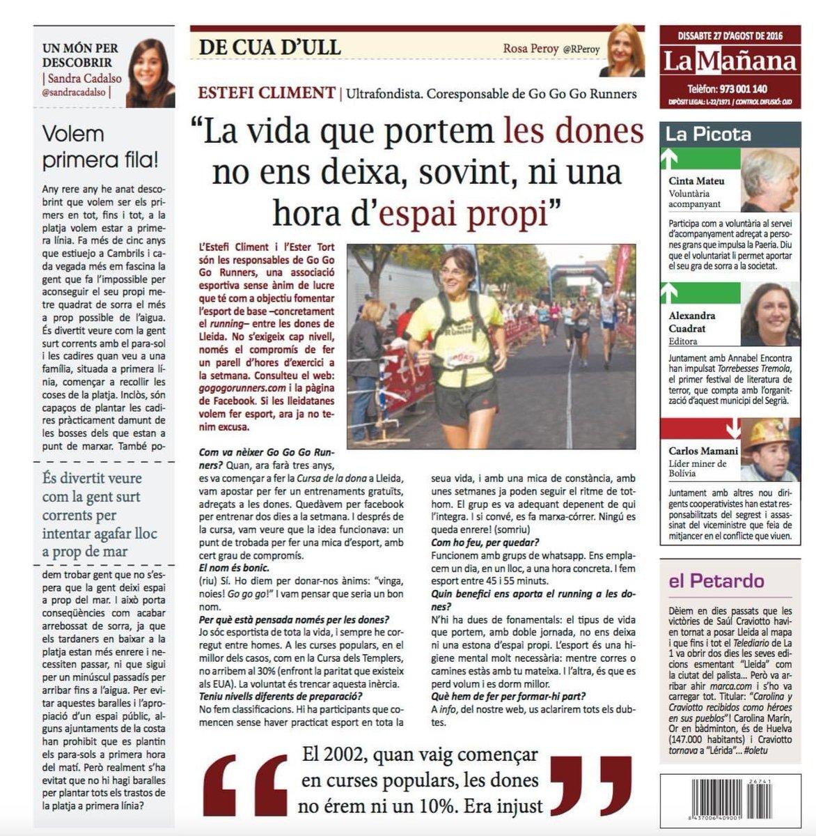 """Avui, volem recordar l'entrevista que va fer Rosa Peroy a Estefi Climent per @LaManyanacat l'agost de 2016.   """"La vida que portem les dones no ens deixa, sovint, ni una hora d'espai propi""""   #donaiesportlleida #donaiesport #gogogorunners https://t.co/dJP5QYaq8a"""