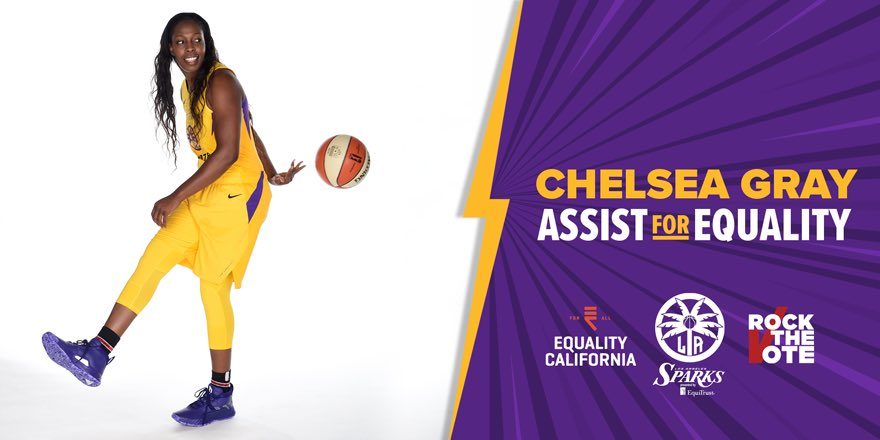 "3-time All-Star Chelsea Gray partners with the Sparks, @eqca, and @RockTheVote.  ""Voting is a huge part of our democracy and is pivotal for the future of our country."" - @cgray209   https://t.co/yMTjXTtekv  #GoSparks 