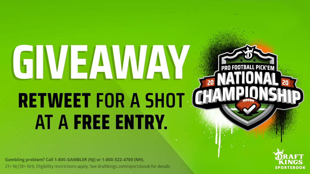 🚨 GIVEAWAY 🚨  Want a FREE entry into the 2020 Pro Football Pick 'Em National Championship? Simply...  ➕ Follow @DKSportsbook. 🔁 Retweet this.  Terms & Conditions apply, ends Monday: