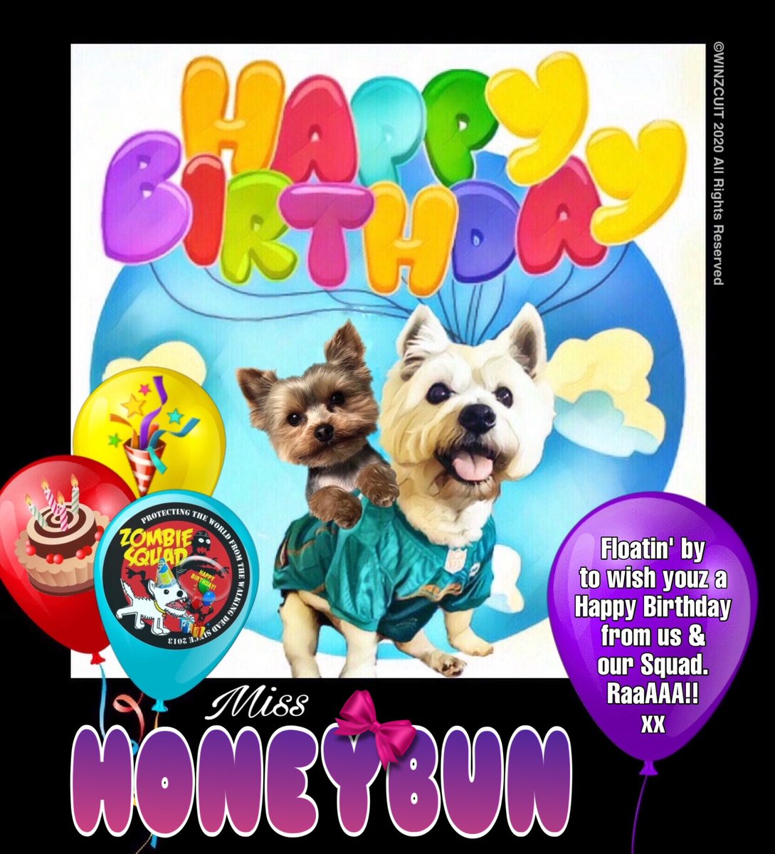 🎂Wishing a very 🎁HAPPY BIRTHDAY🎉 to our pawsome pal, HONEYBUN from Leada Billy & your ZombieSquad pals. We hope your special day is full of tasty treats, belly rubs & cayke, soldyer. RaaAAA!! 💜🎂🎁🎈🎉 @honeybun667 @ZombieSquadHQ #ZSHQ https://t.co/IBHUAbvh4F