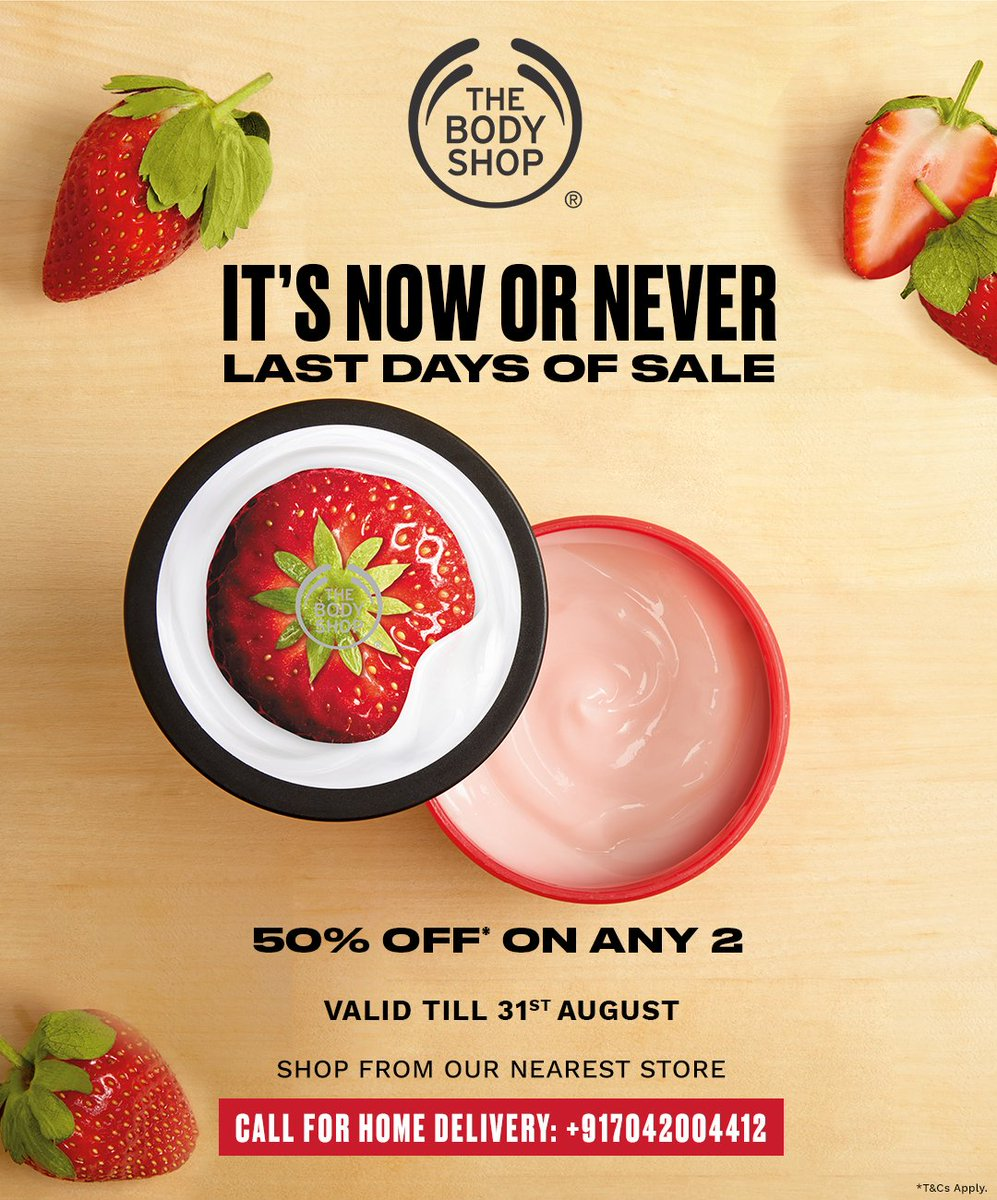 Stock up on The Body Shop iconic ranges. Pick 2 of your favourite products at 50% OFF*. Head to The Body Shop store to grab your favourites.  *T&C Apply #EOSS #TheBodyShopIndia #TBSInd #Sale #bodyshopmakeup #EndOfSeasonSale