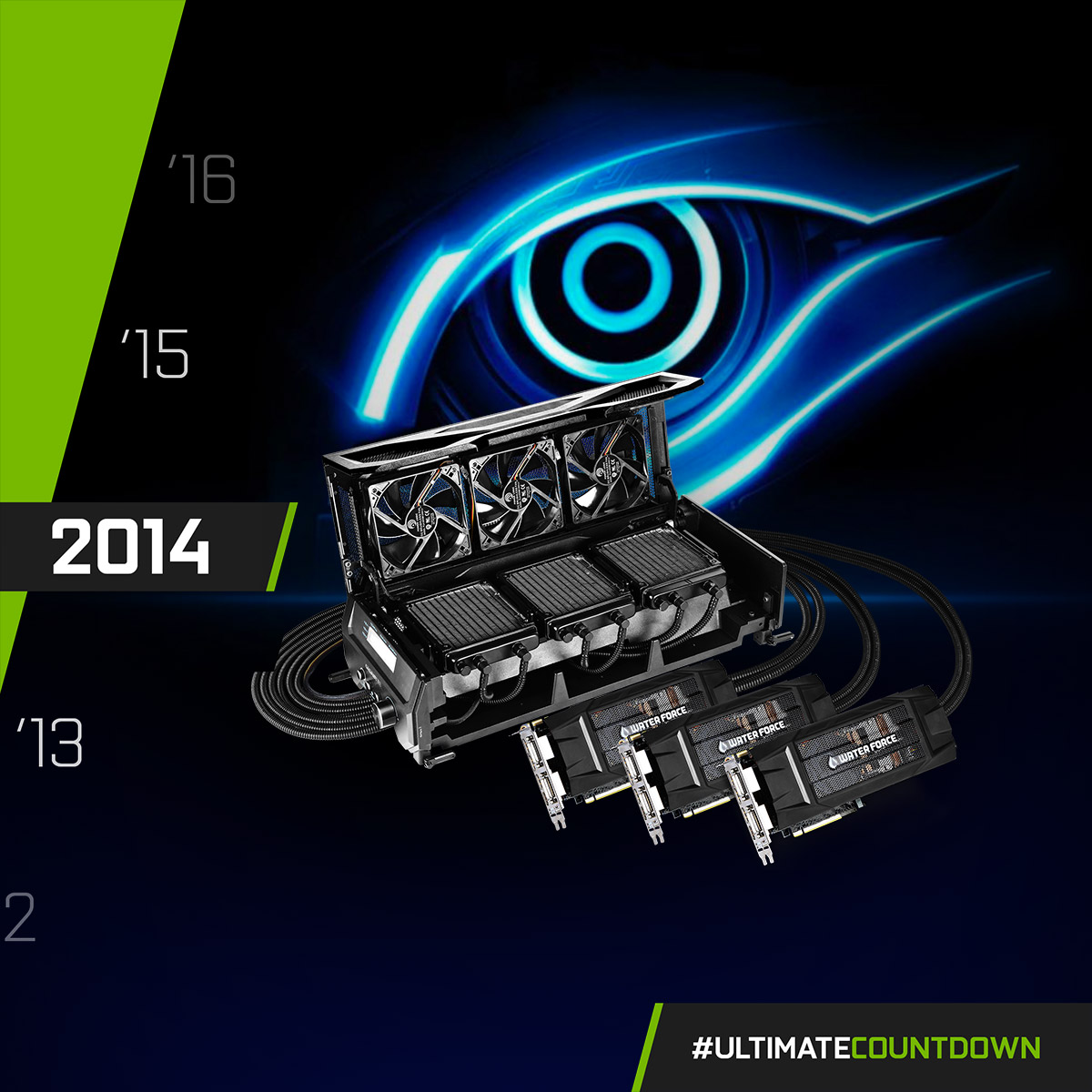 "NVIDIA GeForce GTX 980 - 2014  The ""Blue Eye Ultimate Card"" of the year - the world's first closed-loop liquid cooling GTX 980 3-Way SLI - GIGABYTE WATERFORCE 😎  #UltimateCountdown #UltimateAORUS #GIGABYTE https://t.co/0GaAK7cfSJ"