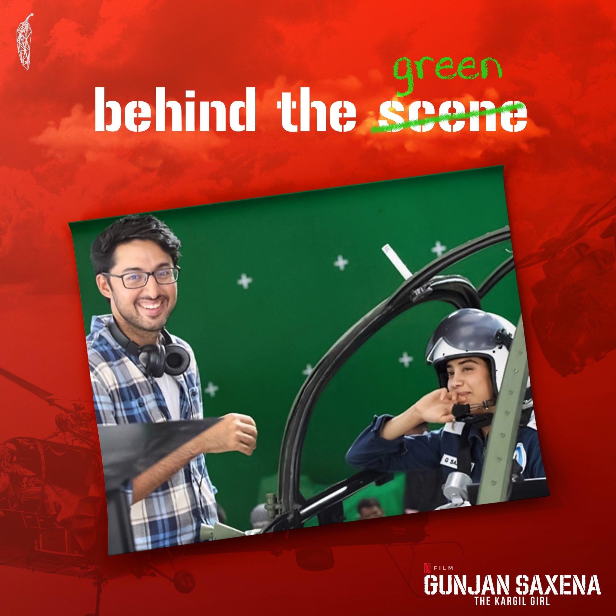 "redchillies.vfx on Twitter: ""'The scenes are always greener on the other  side'! Director #SharanSharma shared a happy smiling BTS moment from the  making of #GunjanSaxena! Kind of reminds us of all the"