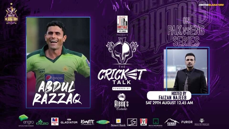 🇵🇰🆚🏴  #PurpleForce! Join us after the First #PAKvENG T20I as we host Pakistan's legendary all-rounder & Gladiators' bowling coach @ARazzaqPak in #TheCricketTalk!!  💭🏏 Share your thoughts and questions on the T20Is as @najeebfaizan discusses them tonight.  #WeTheGladiators https://t.co/xvlT7TSaJX