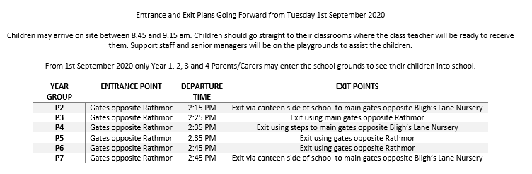 Entrance and Exit Plans Going Forward from Tuesday 1st September 2020.