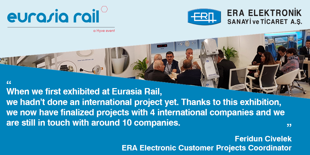 How did Era Electronic become the No.1  supplier of industry leaders with Eurasia Rail? Era Electronic's Customer Projects Coordinaor Feridun Civelek 🎤 📌 https://t.co/FTEHouBdKd  #EurasiaRail #EurasiaRail2021 #railway #technology #supplier #b2b #business @EraElektronik https://t.co/LzxzCIXLaq
