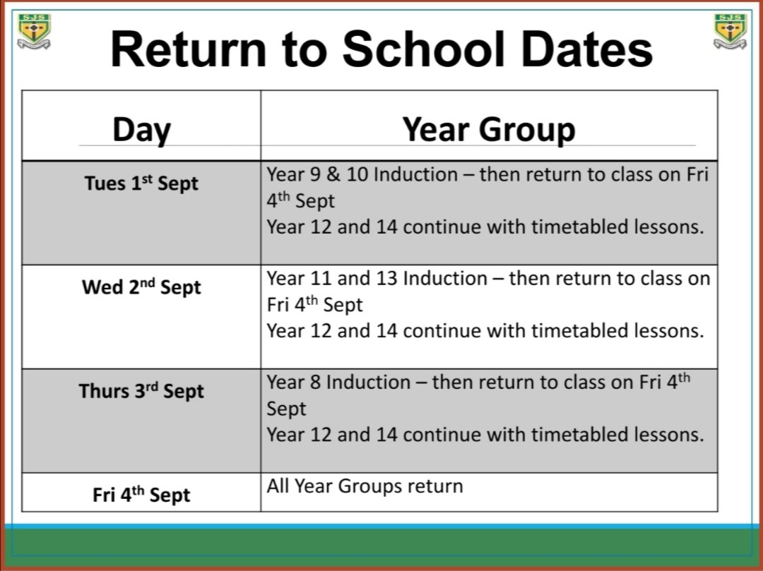 We are so excited to welcome the remainder of our school community back into the school building next week. 💚💛  Please see timetable below for return dates 🙌 https://t.co/qMGCP5jPIK