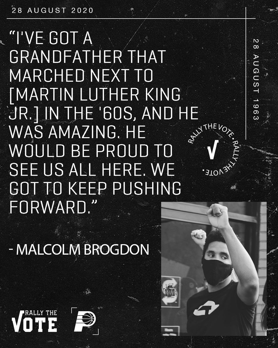 """.@MalcolmBrogdon7 knows the fight for change is not over.   """"𝕎𝕖 𝕘𝕠𝕥 𝕥𝕠 𝕜𝕖𝕖𝕡 𝕡𝕦𝕤𝕙𝕚𝕟𝕘 𝕗𝕠𝕣𝕨𝕒𝕣𝕕.""""  #RallyTheVote 🗳  >> https://t.co/0QmLdNO6lU https://t.co/xSQsVJnzRQ"""