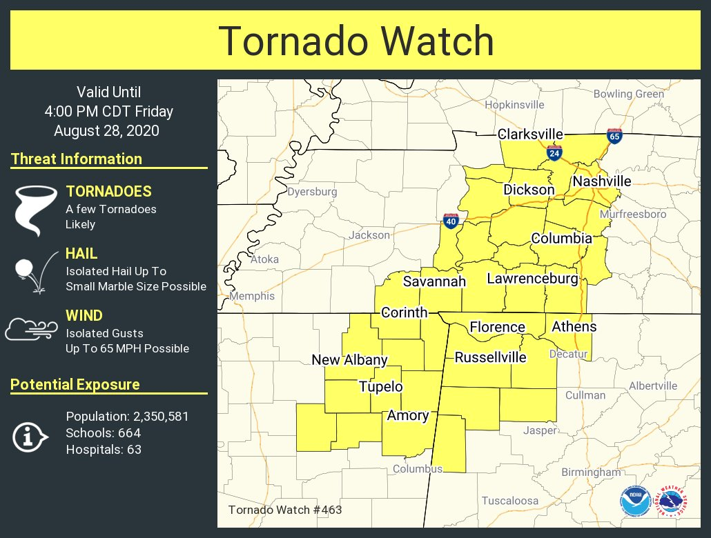 A tornado watch has been issued for parts of Alabama, Mississippi and Tennessee until 4 PM CDT