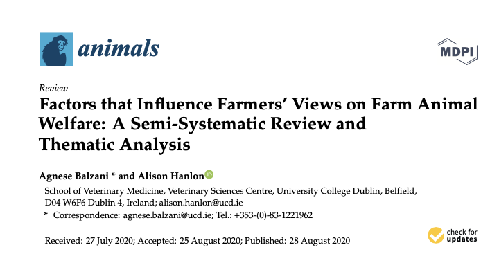 Congrats to @agneBal on the publication of 'Factors that Influence Farmers' Views on Farm Animal Welfare: A Semi-Systematic Review and Thematic Analysis'.  #SWAB project  @AineMW @mcaloonvet  @aineregan @LABoyle2 @ucdvetmed @UCD_CVERA@DohertyVetDean  https://t.co/gv4XZwk5rl https://t.co/9MxMnOtJkk