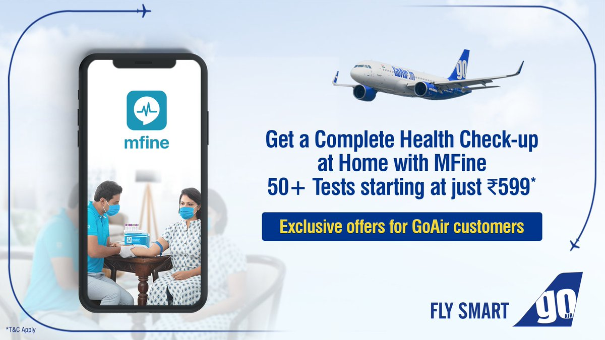 At GoAir, your safety is our priority.  We have partnered with #MFine for health check-up packages at discounted rates, exclusively for you! Know more: https://t.co/S5qwmzfhaI https://t.co/gUmaagqD85