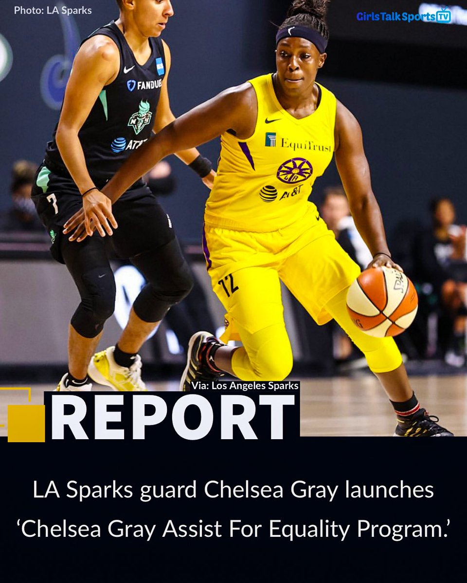 REPORT: @cgray209 announced a partnership w/  @eqca and @RockTheVote to launch the 'Chelsea Gray Assist For Equality Program.'   Gray will donate $50 for every assist she records in the 2020 season, proceeds will be split w/ @eqca + @RockTheVote. @LASparks to match contribution. https://t.co/Tong1Riz0z