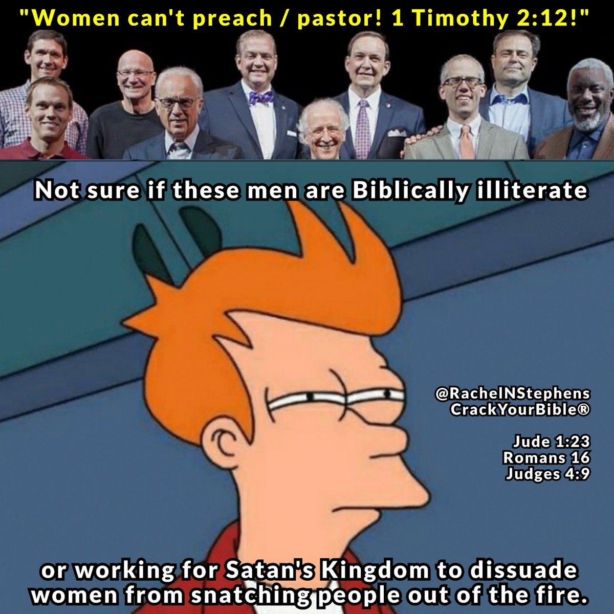 Where is the lie? 💅  Deborah would leave these men in the dust.  #crackyourbible #futuramamemes #churchmemes #notsureif #womeninministry https://t.co/Q0xGbErBQy