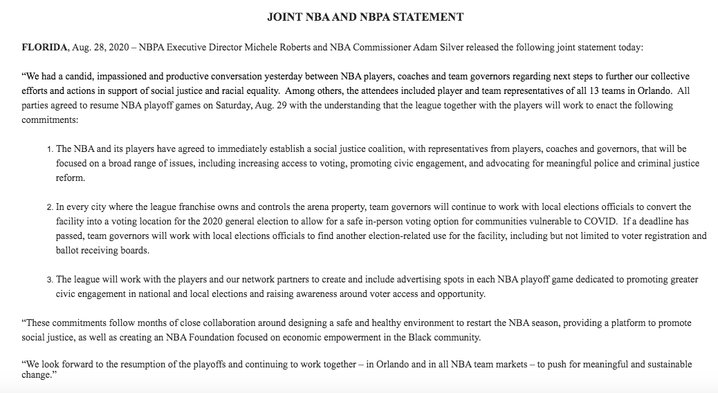 NBA and NBPA release joint statement on plans moving forward.