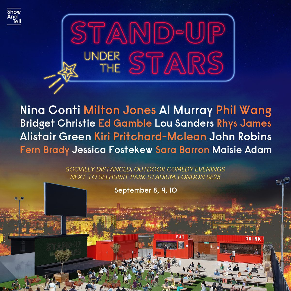 Were building a distanced, outdoor, comedy arena next to Selhurst Park and filling it with: @ninaconti, @almurray, @EdGambleComedy, @PhilNWang, @mralistairgreen, @themiltonjones, @LouSanders & more! Plus! £1 from every ticket goes to @angelcomedy 💜 showandtelluk.com/events/tags/st…