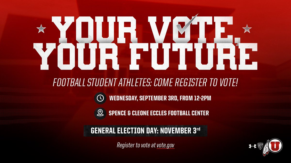 ✅ATTENTION UTAH FOOTBALL STUDENT-ATHLETES✅ Let your voice be heard! Get registered to vote this Wednesday, September 3rd at our facility from 12-2pm. *Bring your state ID or driver's license*