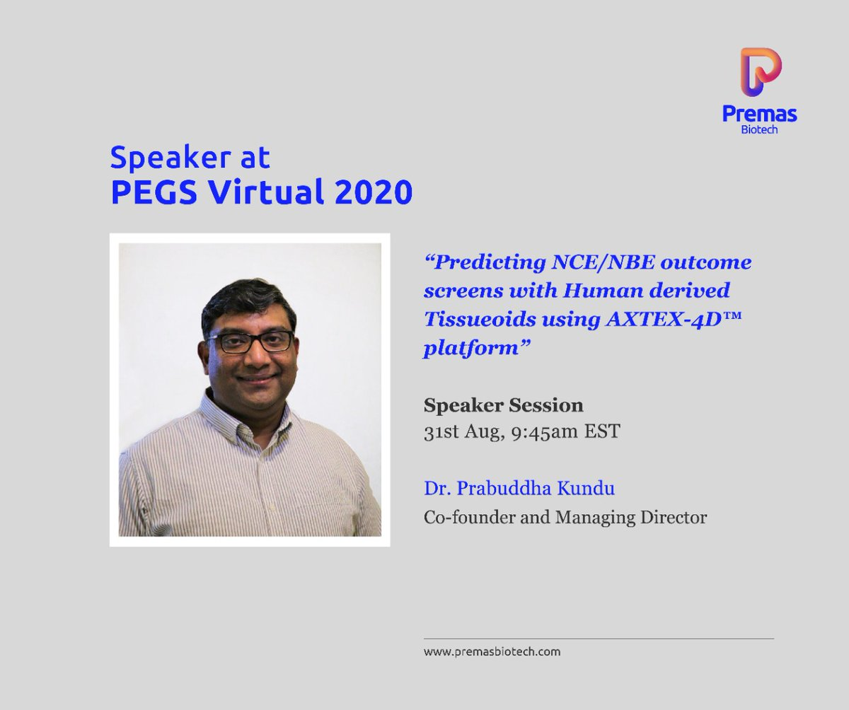 Tumor targeting therapies take 5-12 years for development, with only few candidates making it to clinics.  AXTEX4D offers a suitable alternative for high throughput drug screening, database generation, NCE/NBE & clinical trials.  Catch Dr Prabuddha Kundu speaking at #PEGS2020